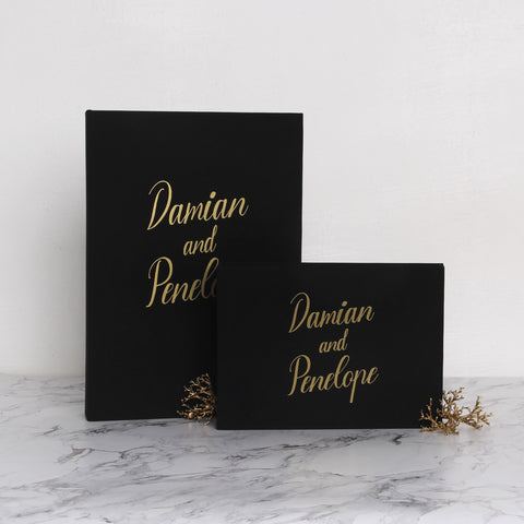 Guest Book Sign in Book Instant Album Black with Gold Lettering, Guestbook Ideas - Liumy