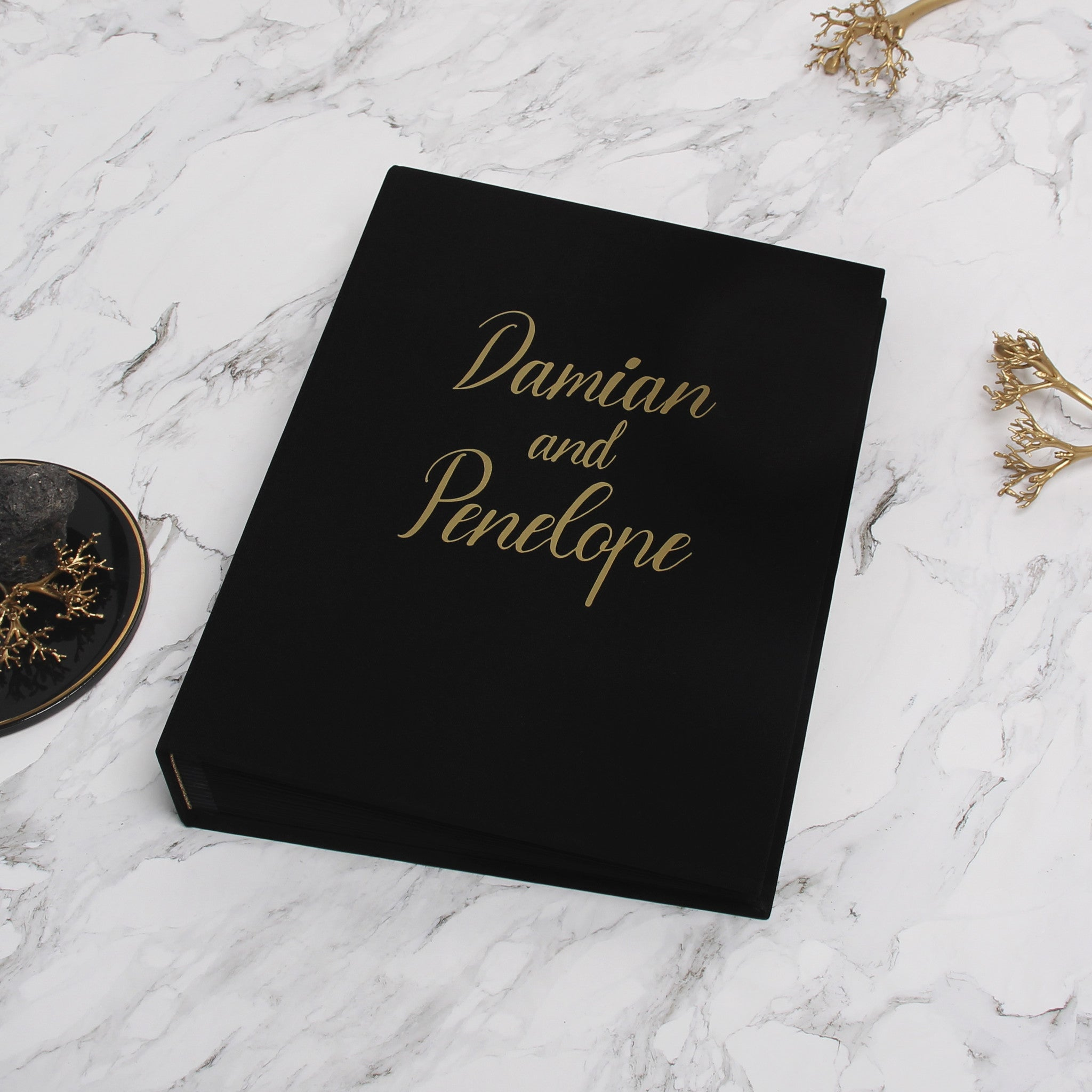Photo Booth Wedding Guest Book Album Black with Gold Lettering Black Pages - Liumy