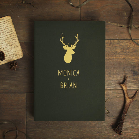 Woodland Deer Wedding Guestbook with Gold Foil Lettering- Natural Green Instax Mini Album - Forest Wedding Album - by Liumy