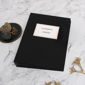 Photo Booth Wedding Guest Book Album Black with Paper Label Black Pages - Liumy