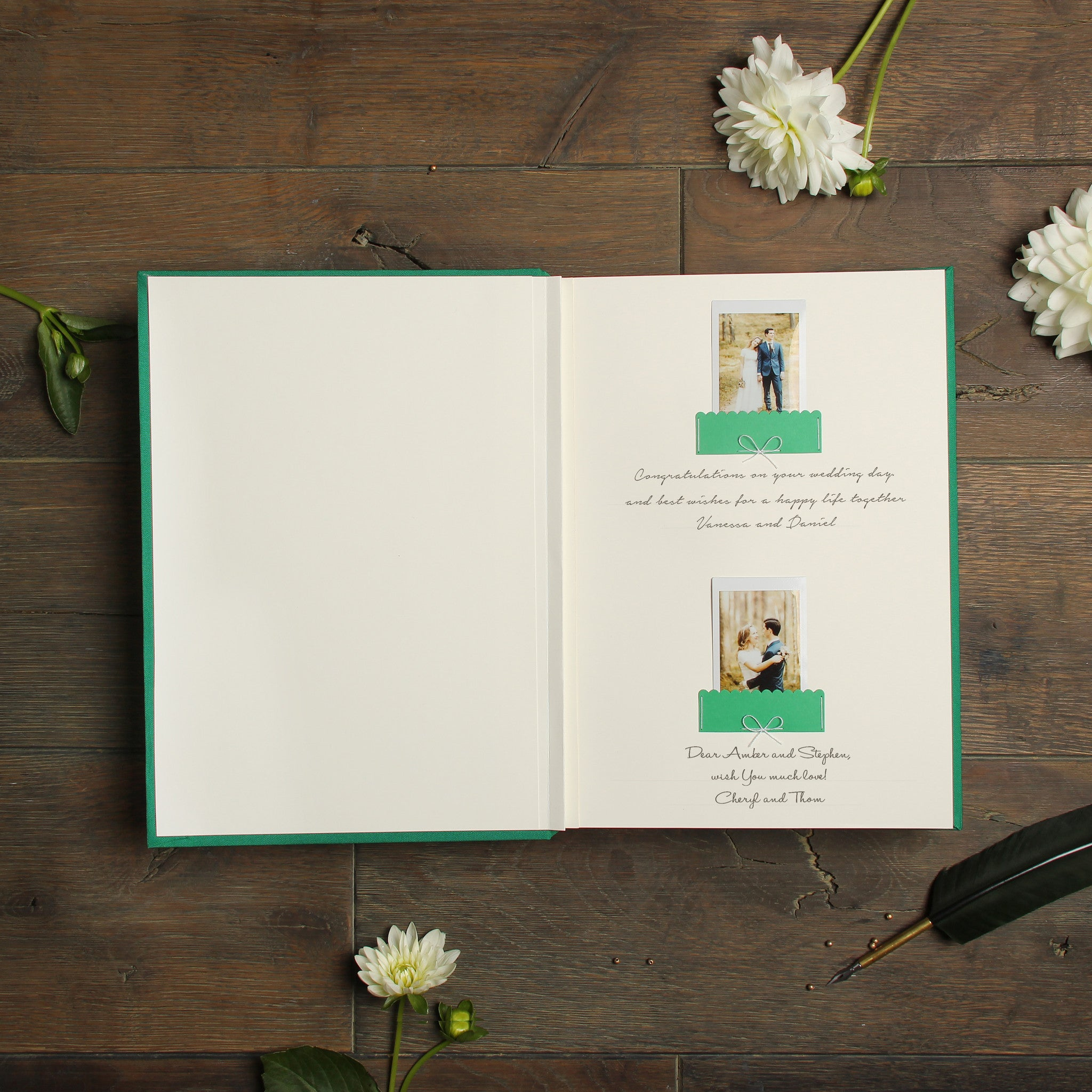 Instant Wedding Guest Book Album Shamrock Green with White Lettering by Liumy - Liumy