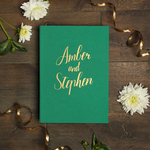 Instant Wedding Guest Book Album Shamrock Green with Gold Lettering by Liumy - Liumy