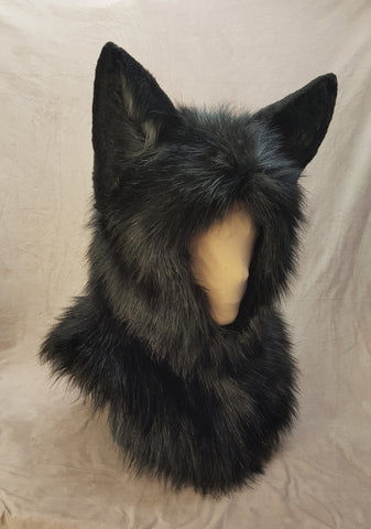 Warm Ear-Hood - Black Fox/Cat