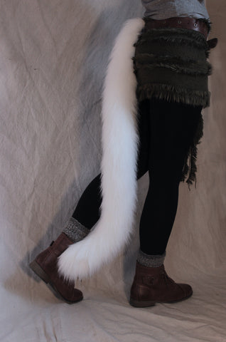 Long fur white cat tail