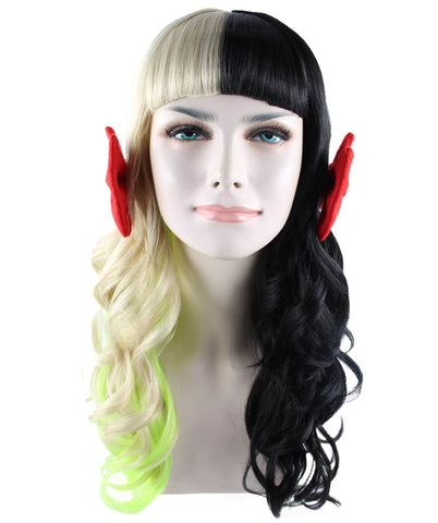 Celebrity popstar iconic Mel Martinez STYLE Rainbow/Black wig with red ribbons HW-1099
