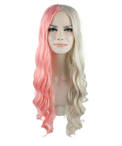 SUPER LONG CURLY HALF LIGHT PINK AND BLONDE HW-1095