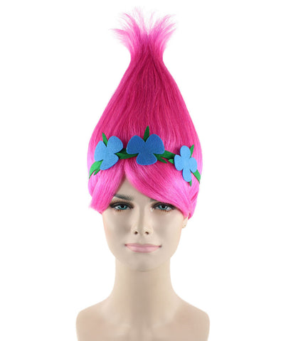 'POPPY' TROLLS MOVIE STYLE WITH HEADBAND SYNTHETIC KIDS SIZE WIG HW-1079