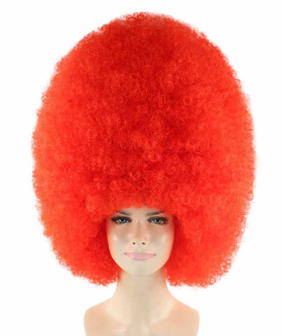 Super Size Jumbo Neon Red Afro Wig
