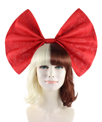 Celebrity popstar iconic Mel Martinez STYLE Blonde/Brown wig with large red bow HW-1097