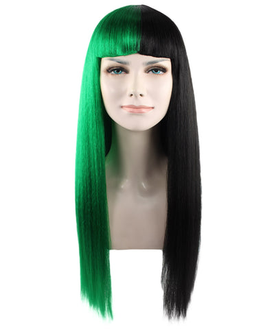 MELANIE WITH GREEN AND BLACK LONG STRAIGHT HW-1082