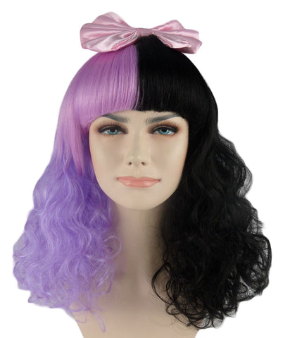 Melanie Martinez Style Dolly Purple and Black Curly Wig with Pink Bow
