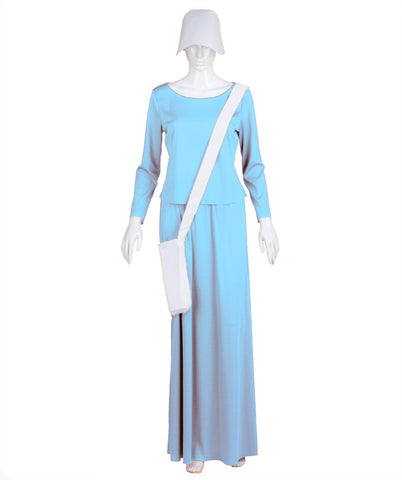 Adult Women's Lt Blue Dress Handmaid Costume with Bag and Bonnet HC-231