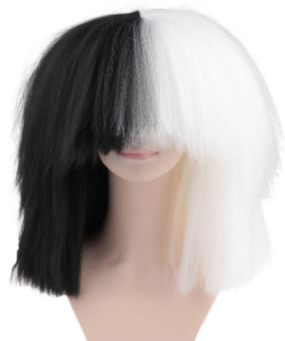 SIA White and Black Wig ('Sia style Wig') ADULT SIZE