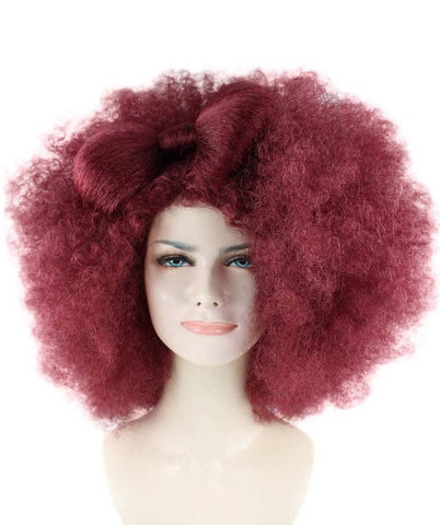 Burgundy Afro Small Bow Wig HW-863