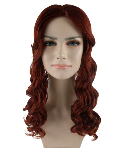 Sexy Long Wavy Auburn Brown Wig HW-739