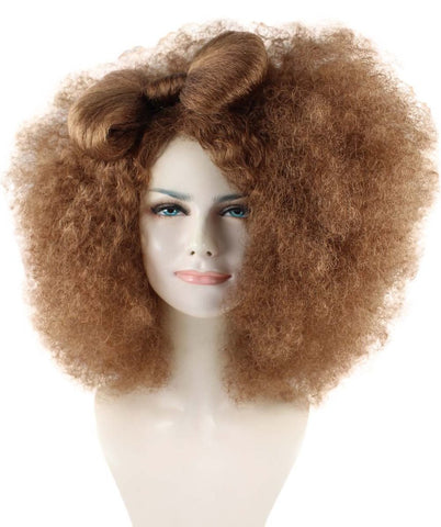 Adult Women Brown Afro Small Bow Wig HW-888