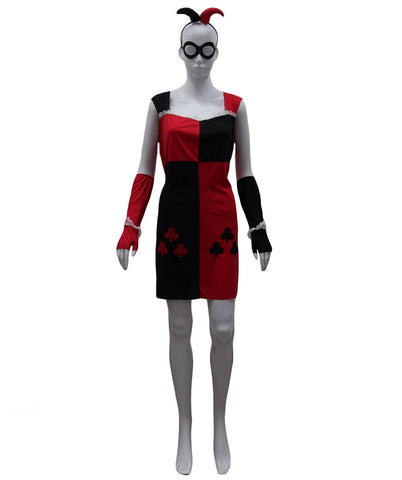 Adult Women's Costume for Cosplay Harley Quinn Clubs Poker Dress HC-486