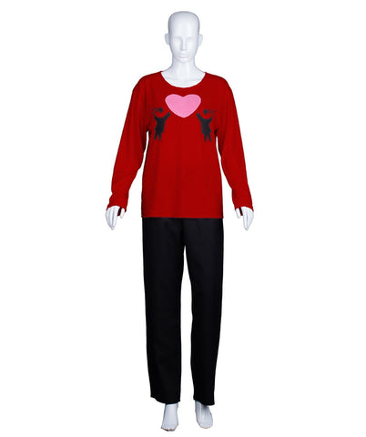 Adult Women's Valentine's Day Falling In Love Wine Red Long Sleeve HC-553