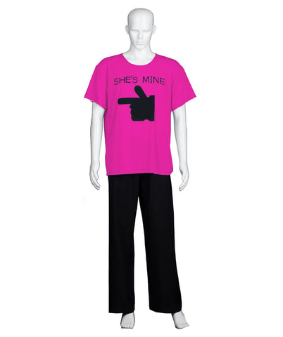 Adult Men's Valentine's Day Matching Couple She's Mine Hot Pink T-Shirt HC-580