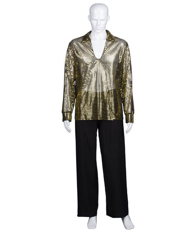 Adult Men's 70's Disco Gold Sequin Shirt Costume HC-966