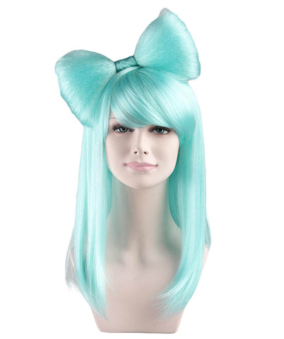 Light Blue Bow Adults Wig Lady Gaga Style | HW-026
