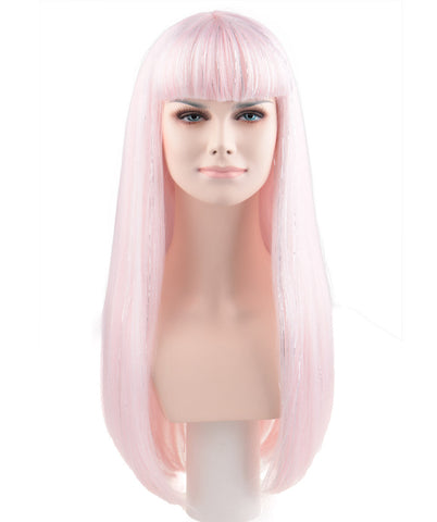 PINK/SILVER LONG ADULT FASHION WIG HW-170