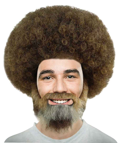 Wig for Cosplay Bob Ross Afro Wig with Full Beard and Moustache Set HM-898