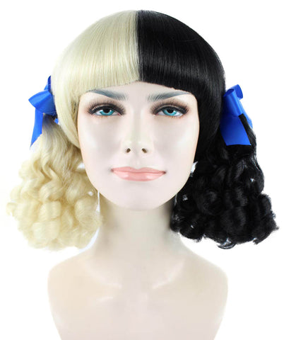 Celebrity popstar icon Mel Martinez STYLE short fringe Blonde/Black wig blue bows HW-1098