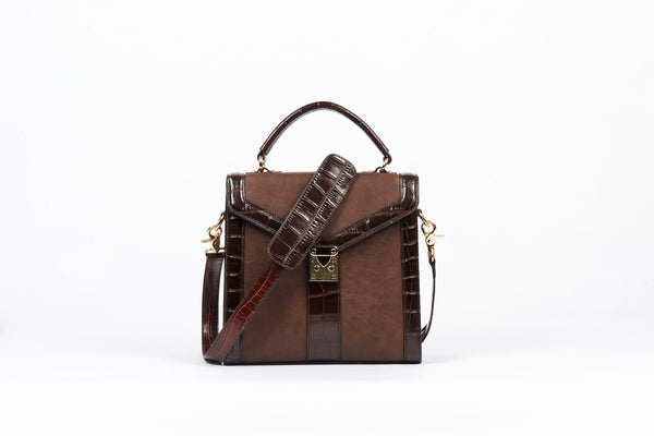 Claudia Canova square brown matt handbag