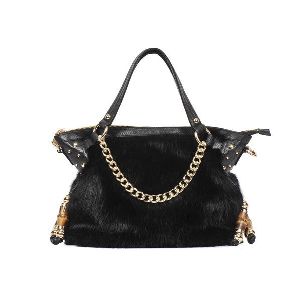 Claudia Canova Black Faux Fur Tote