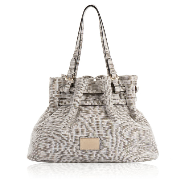 Claudia Canova Grey reptile skin effect shoulder bag