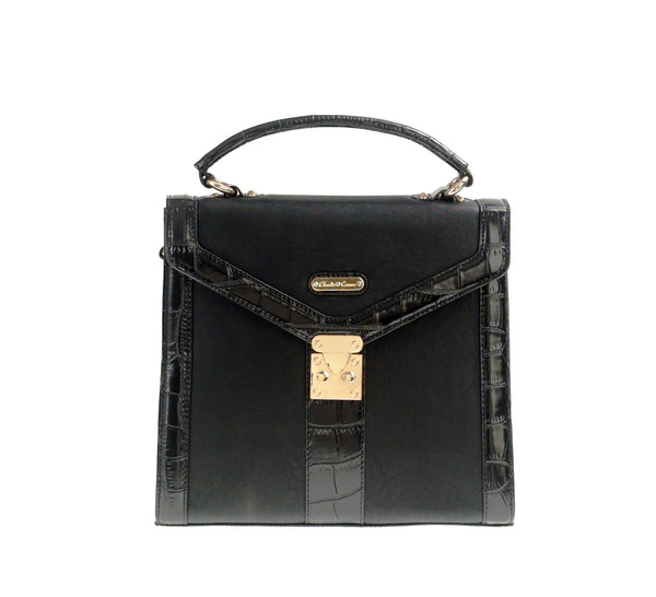Claudia Canova square black matt handbag