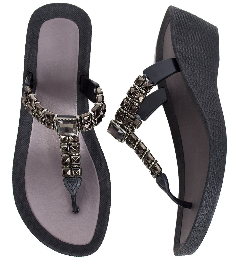 Pia Rossini Lazio White & Black Low Wedge Flip Flop Sandal