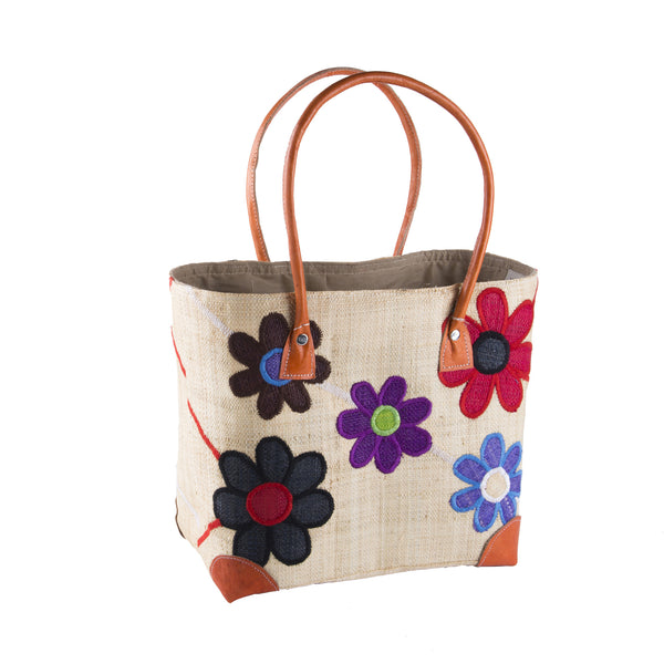 Multi Coloured Daisy Rafia Basket