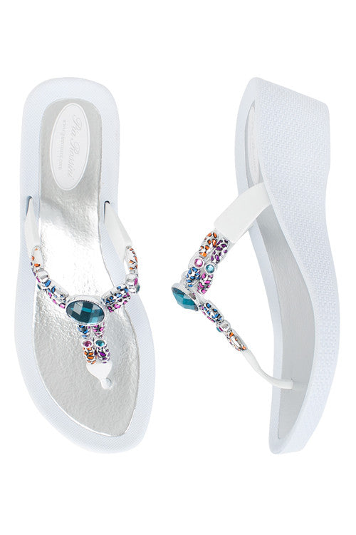 Pia Rossini Gemini White Low Wedge Flip Flop Sandal