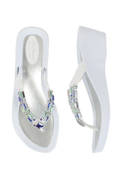 Pia Rossini Topaz White & Black Low Wedge Flip Flop Sandal