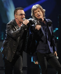 Bono and Mick Jagger on stage