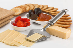 cheese and crackers on a platter