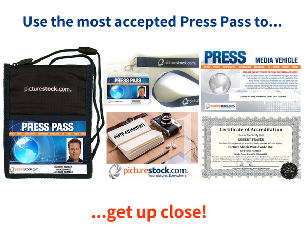press pass kit from picture stock with parking pass and accreditation certificate
