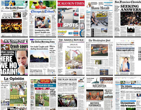 collage of front page newspapers