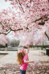 little girl blowing a willow tree
