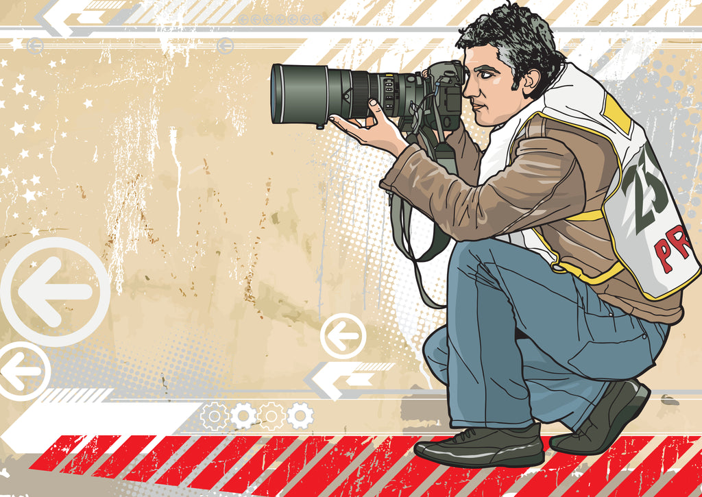 drawing of a press photographer with a long lens taking a picture