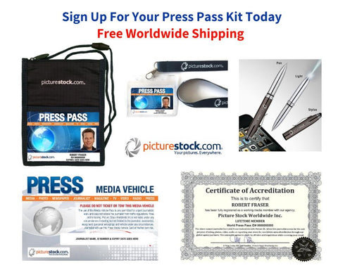 1 Year Press Pass Kit $129 Plus Free Shipping Worldwide