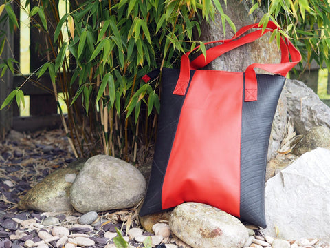 Upcycled from tyre and vinyl tote bag