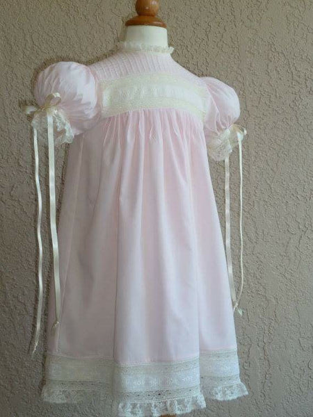 Girls Heirloom Light Pink with French Heirloom Lace Pre-Order Allow 3-6 weeks for production