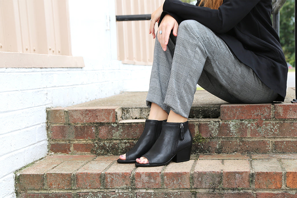 Introducing the Ania, our brand new transitional open-toe booties!