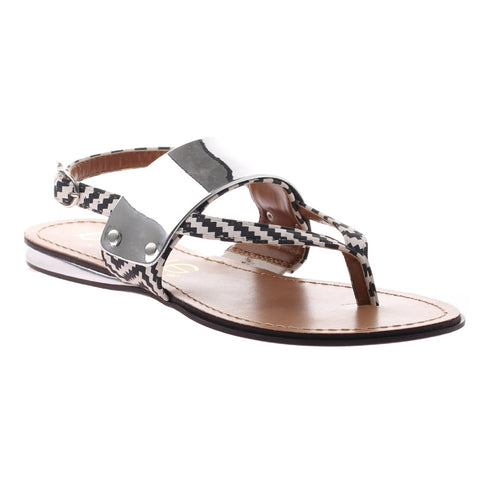 Acadia, White, flat thong sandal with metal silver plat on top