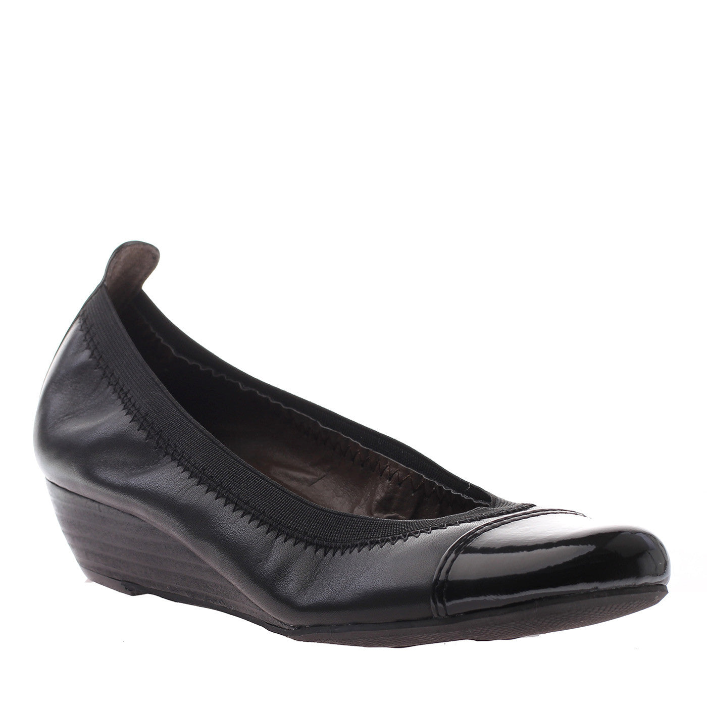 Nicole, Amanda, Black Leather, Wedge ballet flats with elastic stitching