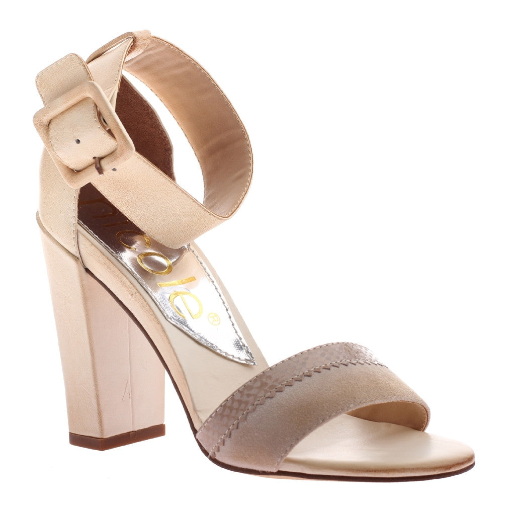 NicoNicole, Barri, Beige, Open toe ankle strap high heel