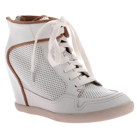 Nicole, Carly, White, Wedge lace up sneaker heel